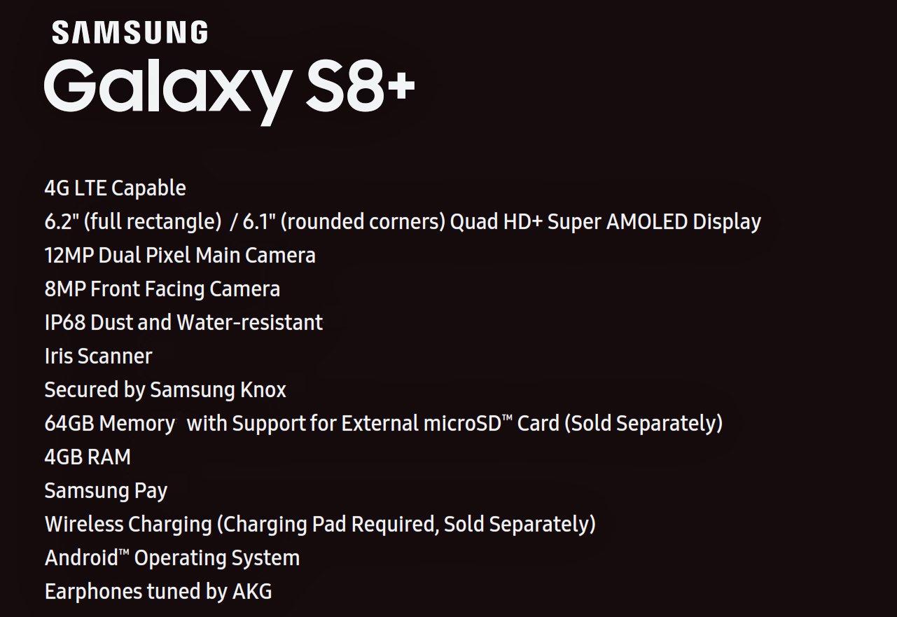 Galaxy S8 Plus Caracteristicas